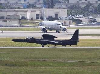 在韓米軍烏山基地から飛来した4機目のU2偵察機。U2は連日、離着陸を繰り返した=1月29日、嘉手納基地(読者提供)