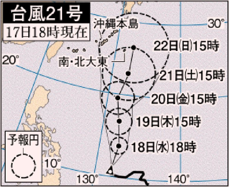 台風21号、発達しながら沖縄へ 大東島や本島21日接近か