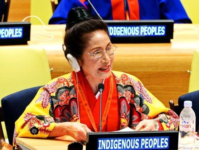 国連本部で行われた先住民族世界会議で、スピーチする糸数慶子参院議員=22日、ニューヨーク